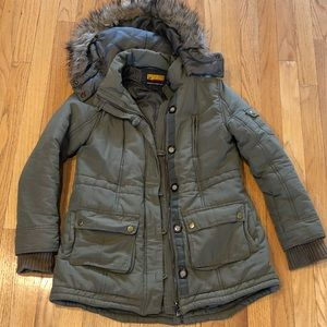 Olive green winter jacket with hood